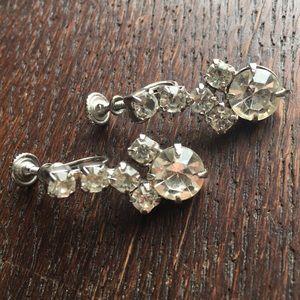 Vintage Rhinestone Earrings Screwback